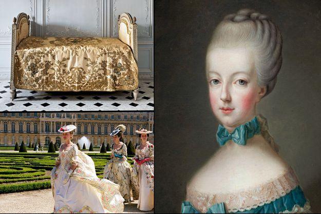 """En haut à gauche : salle de bains de Marie-Antoinette dans son Petit Appartement au château de Versailles. En bas à gauche: """"Marie-Antoinette"""" de Sofia Coppola en 2006. À droite : """"La dauphine Marie-Antoinette"""" d'après Joseph Ducreux et Joseph Krantzinger, vers 1770"""