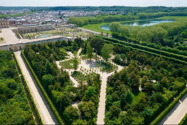 Vue aérienne du bosquet de la Reine restauré au château de Versailles