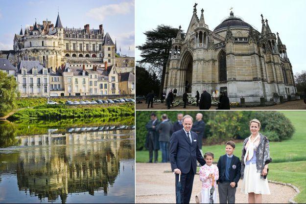 Le prince Jean d'Orléans, comte de Paris, avec sa femme et leurs deux aînés, le 2 mai 2019 Le château d'Amboise en 2017 - La chapelle royale de Dreux en 2019 - Le prince Jean d'Orléans, comte de Paris, avec sa femme et leurs deux aînés, le 2 mai 2019