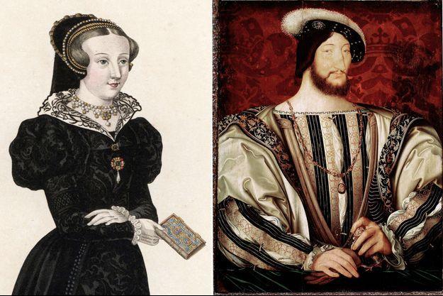 Françoise de Foix (gravure de 1827) et le roi François Ier (portrait par Jean Clouet vers 1530/Paris, Musée du Louvre)