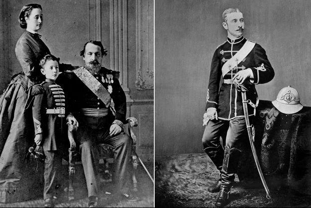 Le prince impérial Louis Napoléon. A gauche, avec ses parents l'empereur Napoléon III et l'impératrice Eugénie. A droite, vers 1876.