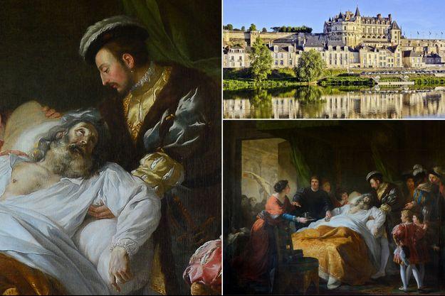"""""""La mort de Léonard de Vinci"""" par François-Guillaume Ménageot, 1781. En haut à droite, le château royal d'Amboise"""
