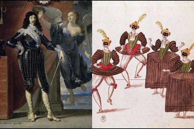 """""""Louis XIII couronné par la Victoire"""", par Philippe de Champaigne (Musée du Louvre - Paris) - Dessin de l'""""Entrée des Esperducattis"""" lors du """"Ballet des Ridicules"""", dansé par Louis XIII à Saint-Germain le 12 janvier 1628"""