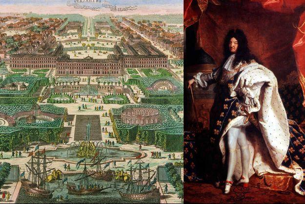 Portrait de Louis XIV par Hyacinthe Rigaud - Gravure de la ville et du château de Versailles, datée de 1793