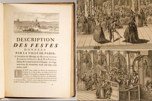Détail du livre de 1740 décrivant les fêtes données par la Ville de Paris pour le mariage de Madame Louise-Elisabeth de France et l'infant Felipe d'Espagne, en vente aux enchères le 26 janvier 2021
