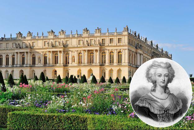 Le château de Versailles en mai 2019 – En vignette: portrait de Marie Antoinette dans le livre «Histoire de la Révolution française» par Thiers (XIXe siècle)