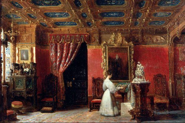 La princesse Marie d'Orléans dans son atelier au Palais des Tuileries à Paris, par Prosper Lafaye (Musée de l'Histoire de France, Château de Versailles)