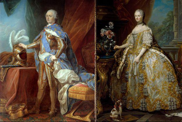 Portraits de Louis XV et de Marie Lescszynska, reine de France, par Carle Van Loo (Versailles, musée du Château et Florence, Palazzo Pitti)