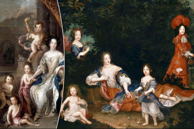 Toiles figurant la marquise de Montespan avec ses enfants (musée de l'Histoire de France, château de Versailles)