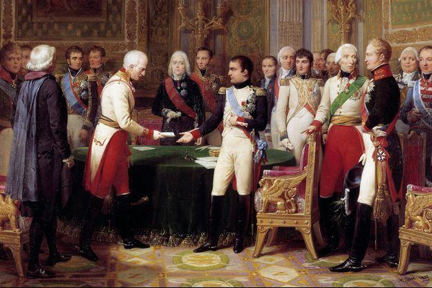 Napoléon Ier recevant l'ambassadeur d'Autriche lors de l'entrevue d'Erfurt en 1808, par Nicolas Gosse (Musée national du château de Versailles)