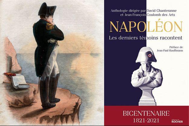 A gauche, portrait de Napoléon Ier à Sainte-Hélène (illustration pour «Le Plutarque français » d'Edmond Mennechet, 1836)