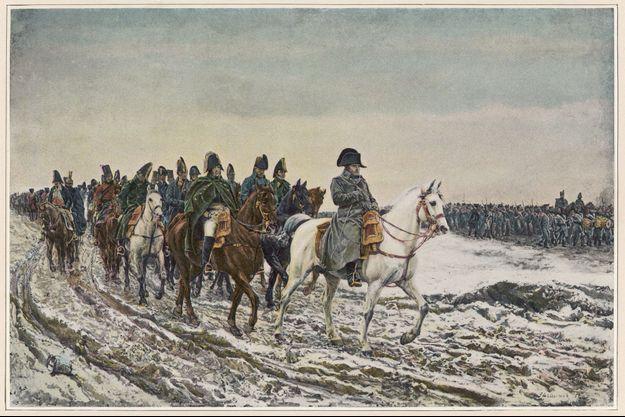 Napoléon à la tête de son armée pendant la campagne de France en 1814