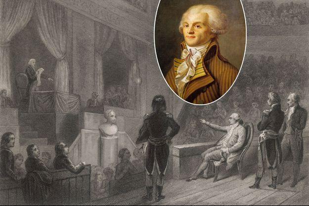 Gravure figurant le procès de Louis XVI devant la Convention. En vignette: portrait de Maximilien de Robespierre, vers 1793