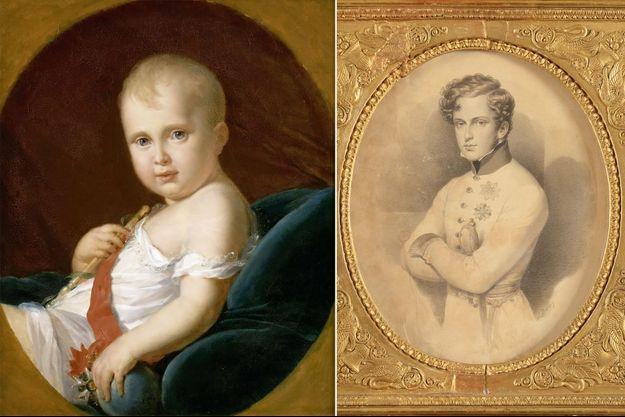Portrait du petit roi de Rome, par Gérard, en 1811 (musée de l'Histoire de France, château de Versailles) et du duc de Reichstadt vers 1830 (collection privée)