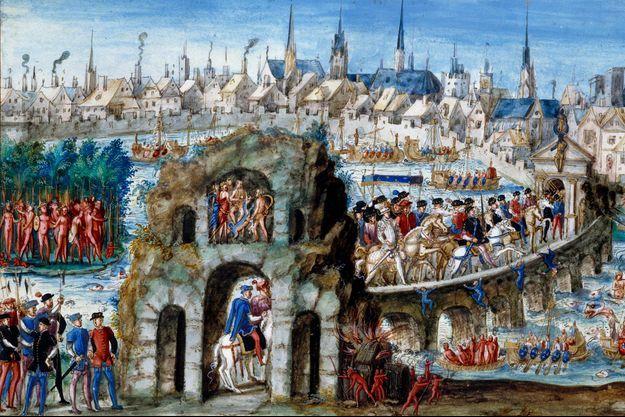 L'entrée royale d'Henri II et Catherine de Médicis à Rouen le 1er octobre 1550. Miniature, école française, XVIe siècle. Bibliothèque municipale de Rouen