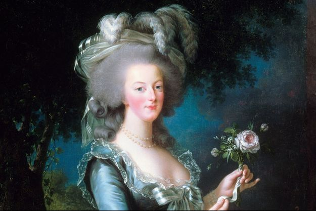 Portrait de Marie-Antoinette à la rose, par Elisabeth Vigée-Le Brun (détail), 1783 (Château de Versailles)