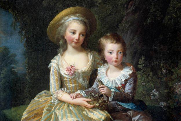 Le prince Louis-Joseph avec sa soeur la princesse Marie-Thérèse, en 1784 (détail d'un tableau de Mme Vigée-Lebrun, musee du château de Versailles)