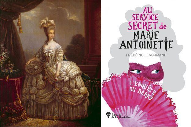 """A gauche: """"Portrait de Marie-Antoinette"""" d'après Elisabeth Vigée Lebrun (Château de Compiègne). A droite: le premier volume de la nouvelle série policière de Frédéric Lenormand"""