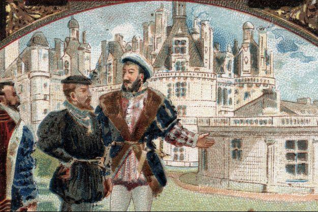 Charles Quint reçu par Francois Ier au château de Chambord. Chromolithographie de la fin du XIXe siècle