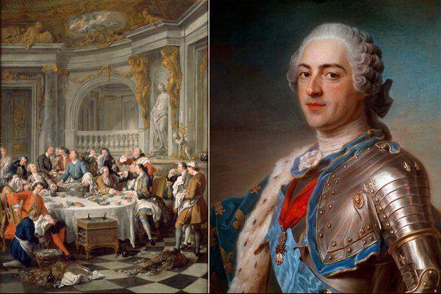 «Le déjeuner d'huîtres» par Jean-François de Troy (1735, Musée Condé, Chantilly). Portrait de Louis XV par Quentin Delatour (1748, Musée du Louvre, Paris)