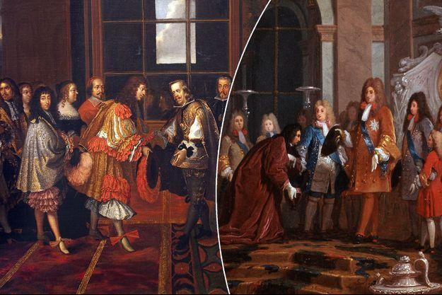 Louis XIV vêtu de la rhingrave en 1659 (à gauche) et portant justaucorps et habit en 1685 (à droite)