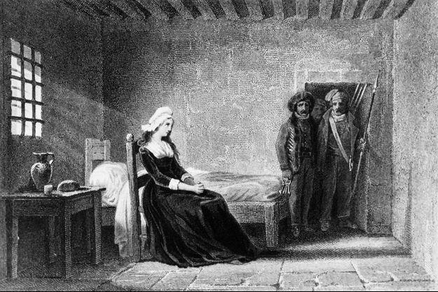 Gravure figurant la reine Marie-Antoinette dans sa prison à la Conciergerie en 1793