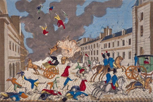 Gravure figurant l'attentat perpétré contre Napoléon Bonaparte à Paris le 24 décembre 1800