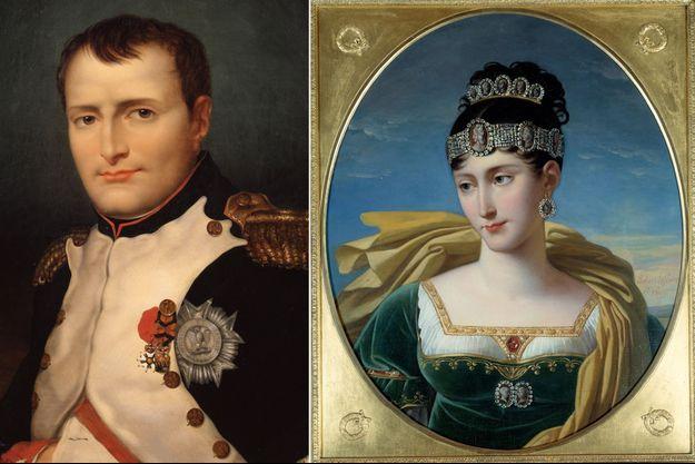 L'empereur Napoléon Ier (portrait anonyme, 1854, State Art Museum, Toula) et sa sœur Pauline Bonaparte (portrait par Robert Lefevre, vers 1809, Musée du Château, Malmaison)