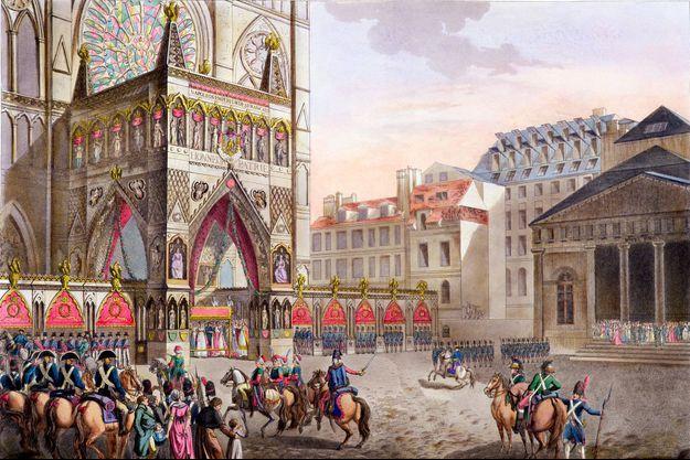 Vue de Notre-Dame de Paris lors du sacre de Napoléon, par Dorgez (1806)