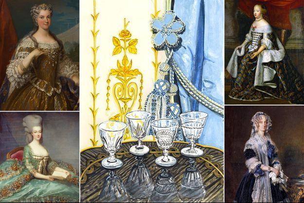 """Les quatre verres à pied de la """"Galerie des Reines"""". A gauche: portraits des reines Marie Leszczynska (Nationalmuseum Stockholm) et Marie-Antoinette (collection privée). A droite: portraits des reines Marie-Thérèse et Marie-Amélie (Versailles, musee du chateau)"""