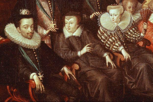 Le roi Henri III, Catherine de Médicis et la reine Louise de Lorraine-Vaudémont. Détail d'un tableau de l'école française, XVIe siècle, figurant le mariage du duc de Joyeuse avec la sœur de la reine.