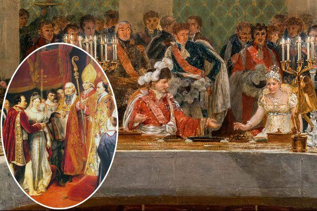 Le banquet de mariage de Napoléon Ier et Marie-Louise, par Casanova, détail. En vignette : Le mariage religieux de Napoléon Ier et Marie-Louise par Georges Rouget