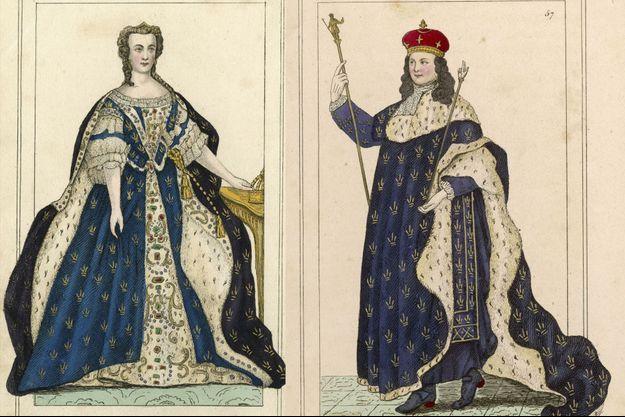 Marie Leszczynska et Louis XV, gravures anciennes