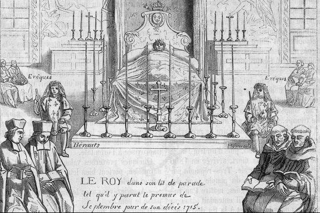 Détail d'une gravure du XIXe siècle figurant la chambre mortuaire de Louis XIV les 1er et 2 septembre 1715