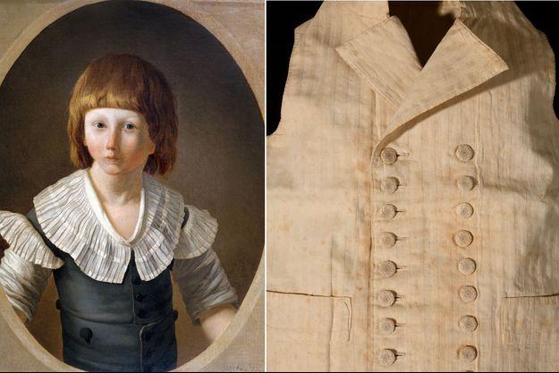 Louis XVII à la prison du Temple en 1793, portrait par             Joseph-Marie Vien fils. A droite, le gilet vendu par la             maison de vente Osenat, le 18 février 2021