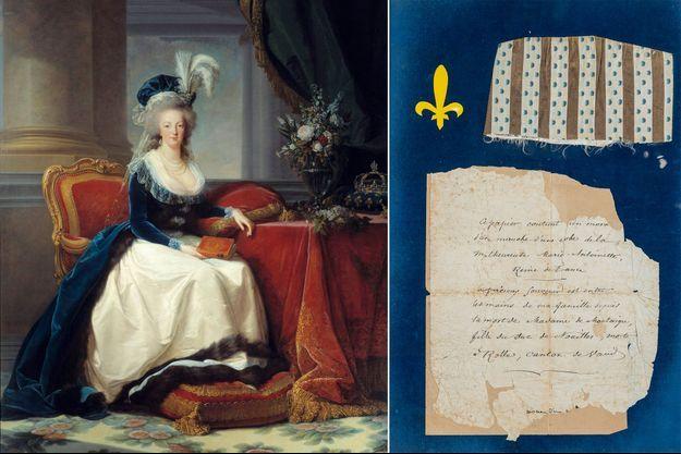 Portrait de la reine Marie-Antoinette, par Mme Vigée Le Brun, 1788 (Musée du château de Versailles) – Morceau de la manche d'une robe de la reine Marie-Antoinette et le billet qui l'accompagne en vente aux enchères à Paris, le 15 octobre 2021