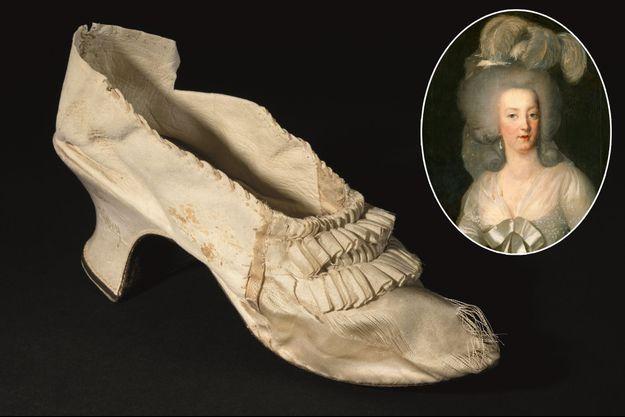 Le soulier de la reine Marie-Antoinette en vente aux enchères le 15 novembre 2020 à Versailles par la Maison Osenat – En vignette, portrait de Marie-Antoinette (collection du Musée du Louvre)