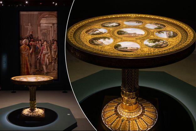 """Le guéridon """"des palais impériaux"""" (collection particulière), exposé au château de Fontainebleau, avril 2019"""