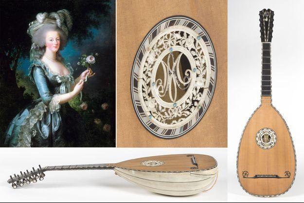 """La guitare-luth de la reine Marie-Antoinette vendue aux enchères le 15 juin 2019. A gauche, """"Portrait de Marie-Antoinette à la rose"""" par Elisabeth Vigée-Lebrun, 1783 (Château de Versailles)"""