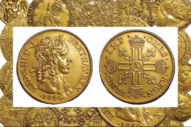 La rarissime monnaie de plaisir pour Louis XIII de Quatre Louis en or de l'atelier de Paris, vendue 288.000 euros à Bordeaux, le 20 septembre 2019