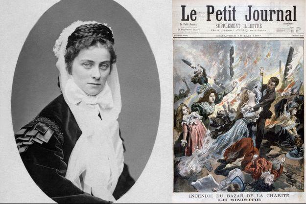 """Photographie de Sophie-Charlotte, duchesse d'Alençon, en 1886 - L'incendie du Bazar de la Charité à la une du """"Petit Journal"""" du 16 juillet 1897"""