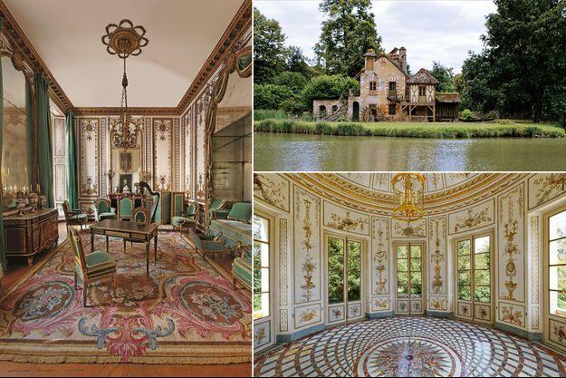 Le Cabinet doré de la reine Marie-Antoinette, le moulin du hameau de la Reine et l'intérieur du Belvédère du Petit Trianon à Versailles