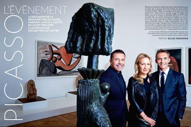 Les trois petits-enfants de Pablo Picasso et Marie-Thérèse Walter : de gauche à droite, Olivier, coauteur du documentaire « Picasso. L'inventaire d'une vie », diffusé le 26 octobre sur Arte, Diana, qui travaille sur le catalogue raisonné des sculptures, et Richard.