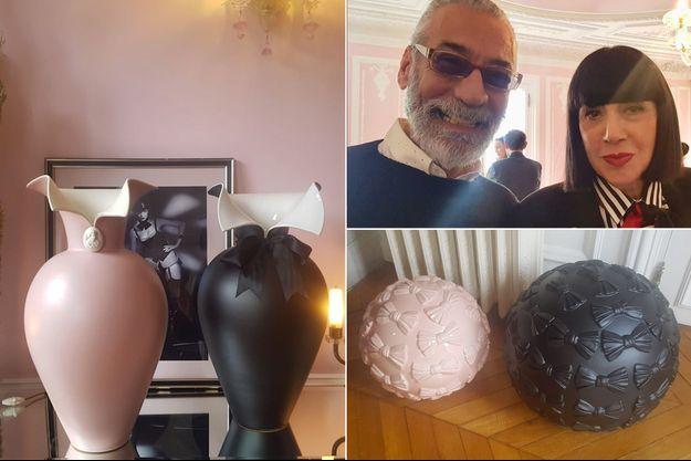 Chantal Thomass, ici avec Massimo Monini, nous a présenté sa nouvelle collection de céramiques Rometti-Chantal Thomass.