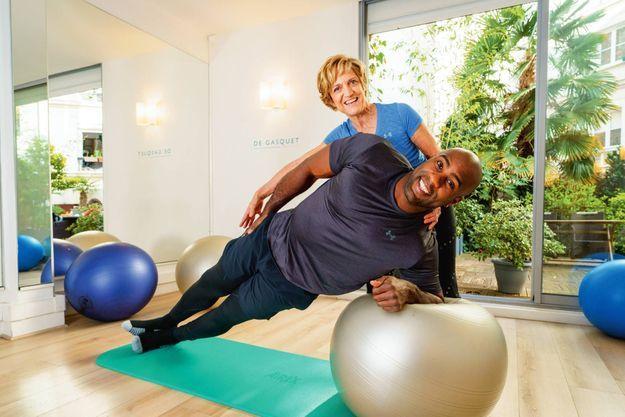 Le docteur Bernadette de Gasquet et son adepte, le judoka Teddy Riner.