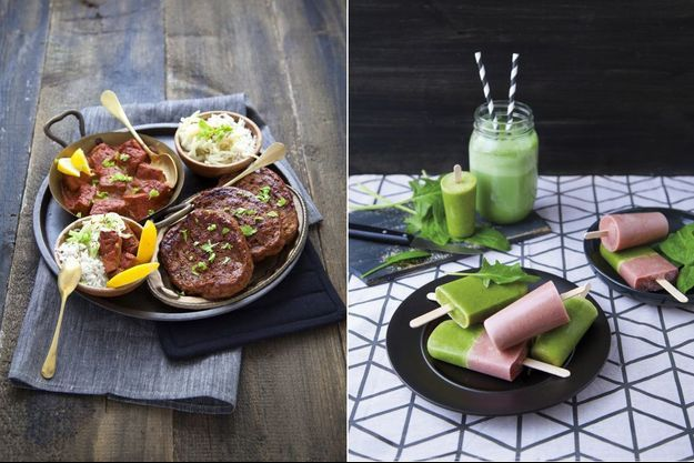A g.: Ceci n'est pas du poulet... mais du seitan tandoori. Recette extraite de « Vegan », par Marie Laforêt. A d.: smoothies et glaces sans lait extraits de « 25 glaces vegan », par marie laforêt.