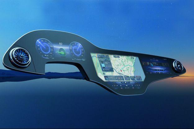 Avec cet écran au gabarit XXL, les passagers de cette Mercedes électrique s'immergent dans un environnement 100 % numérique.