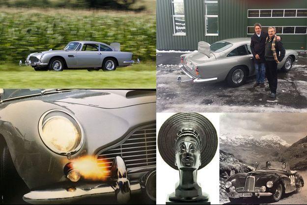 En haut et à gauche, l'Aston Martin DB5 de James Bond, avec son écran pare-balles et ses mitrailleuses. Au centre, la mascotte de la Croisière Noire de Citroën. A droite, une Aston Martin DB1.