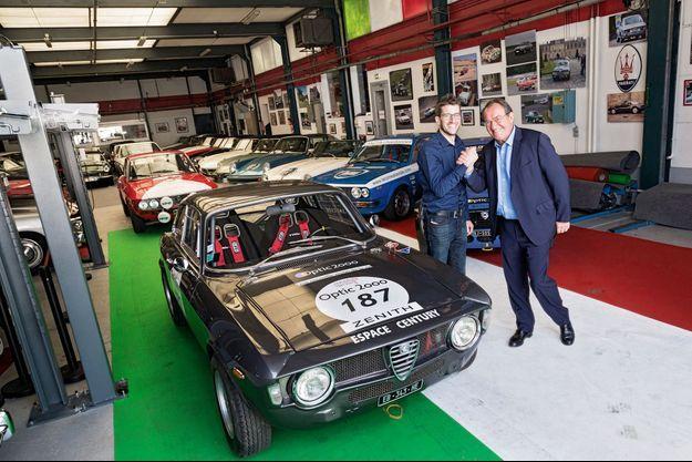 C'est au volant de cette Alfa Romeo Giulia 1600 GT Sprint de 1966 que Jean-Pierre et Olivier participeront au rallye, ici à l'Espace Century de Wissous.
