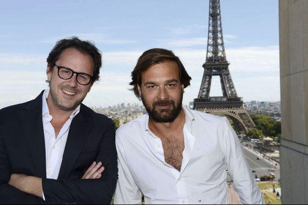 Laurent de Gourcuff (à g.) et son associé Gilles Malafosse, président du pôle restauration, sur le toit-terrasse du Girafe.